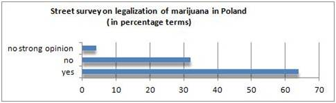 Street survey on marijuana legalization. Chart with the results in percentage terms.