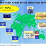 The map illustrating the Polish Armed Forces involvement in peacekeeping missions around the world. Military and UN missions.