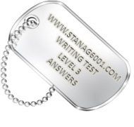 Stanag6001 dog tag. Writing on level 3.