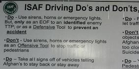 ISAF driving directive - fragment from the chart exhibited in BAF DFAC.