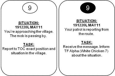 Tactical game for military English students. The cards with tasks for the players.